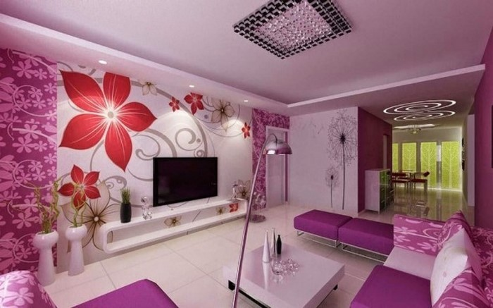 Wohnzimmer-lila-Eine-auffällige-Gestaltung