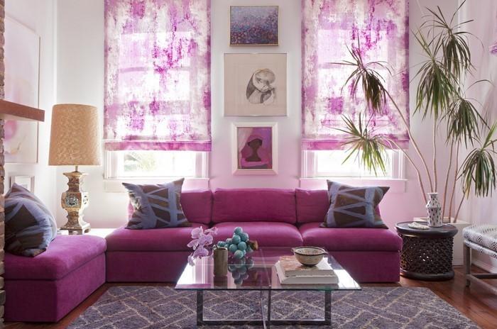 wohnzimmer deko lila:Wohnzimmer lila: Farben Lila und Weß kombinieren