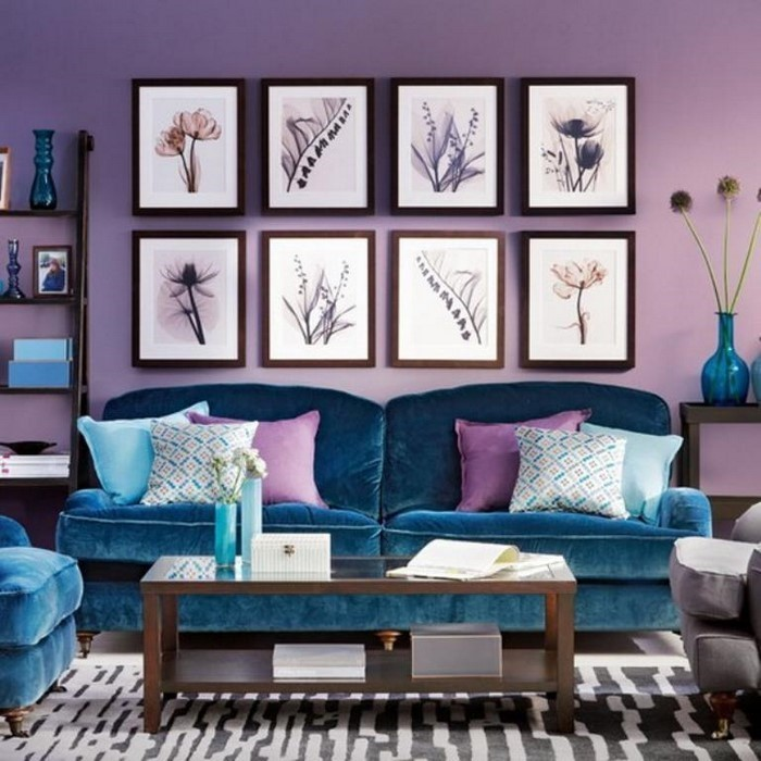 wohnzimmer deko pastell:Wohnzimmer Wandgestaltung in lila:Eine außergewöhnliche Entscheidung