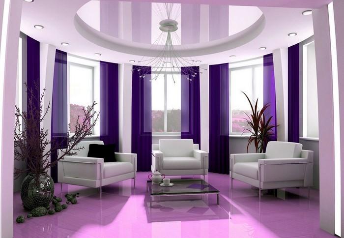 wohnzimmer grau lila - Moderne Wandgestaltung Wohnzimmer Lila