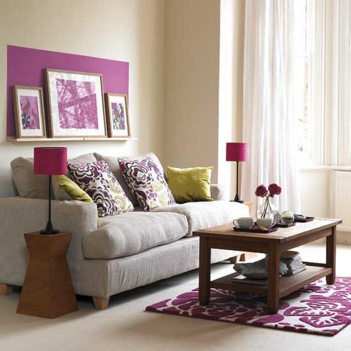 moderne wandgestaltung wohnzimmer lila ideen f r die