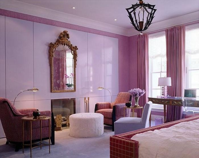 Wohnzimmer ideen wandgestaltung lila  Wohnzimmer lila gestalten: 79 tolle Deko Ideen