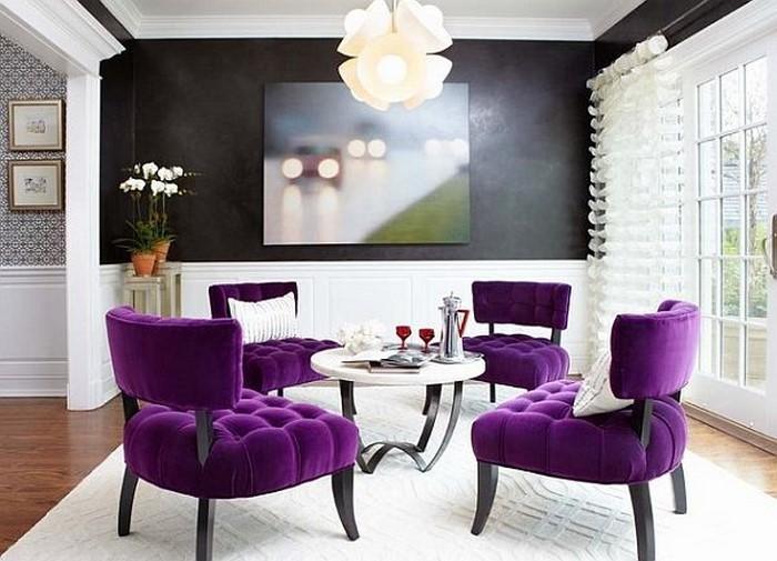 wohnzimmer deko lila:Wohnzimmer lila: Wohnzimmer in Lila und Braun