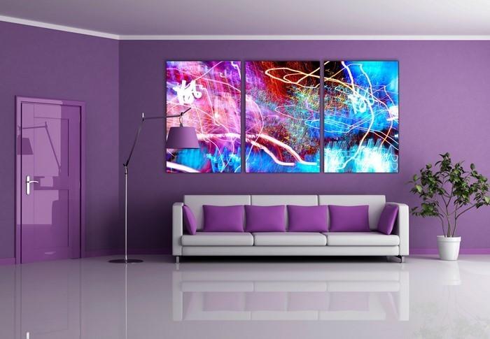 wohnzimmer lila braun:Wohnzimmer lila: Lila Nuancen geben dem Wohnzimmer Farbtupfer