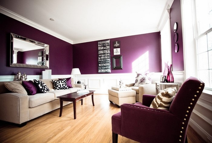 Wohnzimmer lila gestalten 79 tolle deko ideen - Purple and black living room ideas ...