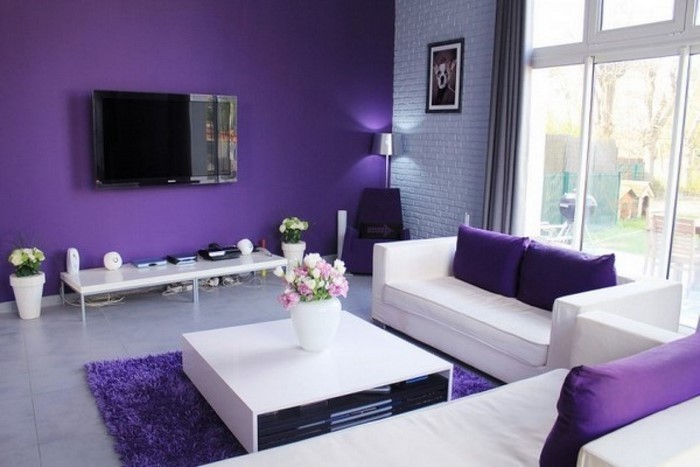 wohnzimmer lila gestalten: 79 tolle deko ideen - Wohnzimmer Violett Braun