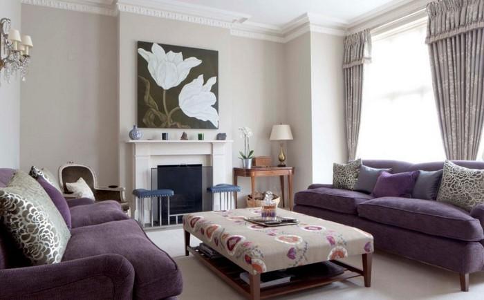 Wohnzimmer-lila-Eine-verblüffende-Dekoration