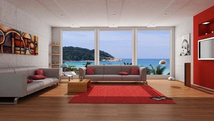 Wohnzimmer-rot-Ein-außergewöhnliches-Interieur