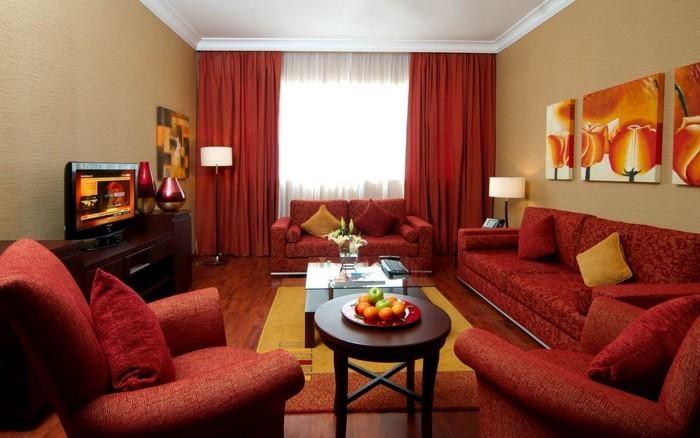 Wohnzimmer-rot-Ein-verblüffendes-Interieur