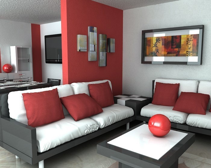 wohnzimmer farbe rot. Black Bedroom Furniture Sets. Home Design Ideas