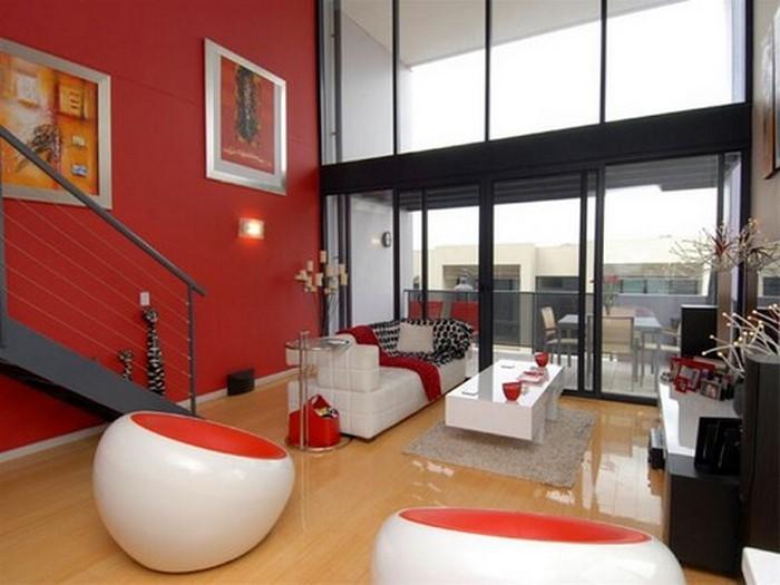 rot design wohnzimmer