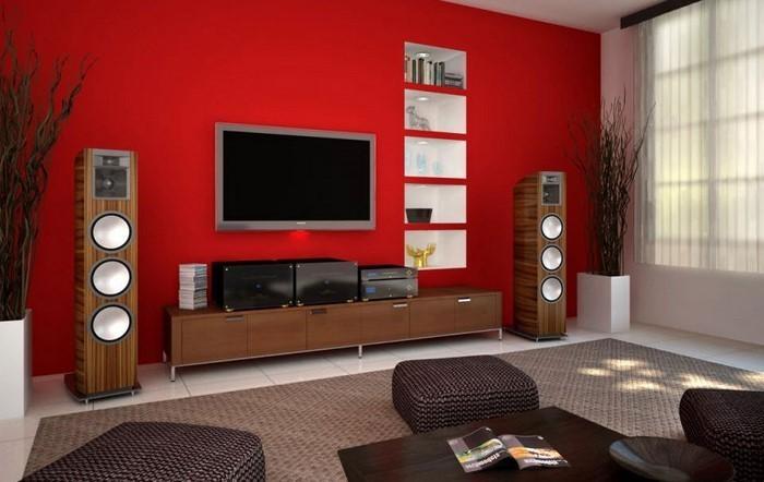 Das Wohnzimmer Rot Gestalten: 79 Einmalige Wohnideen Wandgestaltung Wohnzimmer Rot