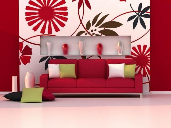 Wohnzimmer-rot-Eine-auffällige-Dekoration