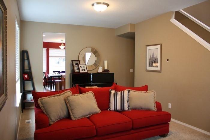 wandgestaltung wohnzimmer rot haus design ideen