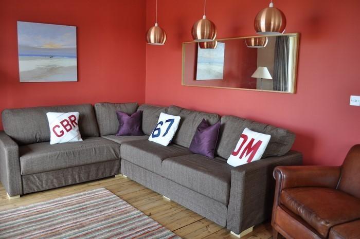 ... wände gestalten farbe:Wohnzimmer rot gestalten: Rote Wände
