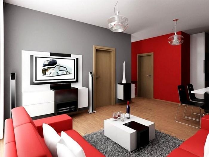 das wohnzimmer rot gestalten: 79 einmalige wohnideen - Bilder Wohnzimmer Rot