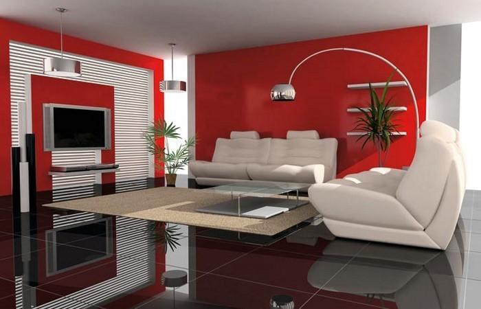 wohnzimmer deko rot haus design ideen