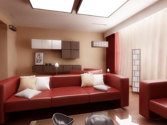 Wohnzimmer-rot-Eine-verblüffende-Dekoration