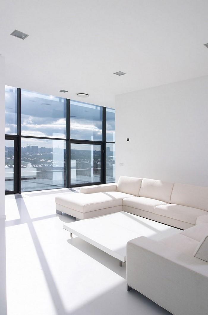 Wohnzimmereinrichtung in wei 80 wundersch ne ideen for Moderne wohnzimmereinrichtung