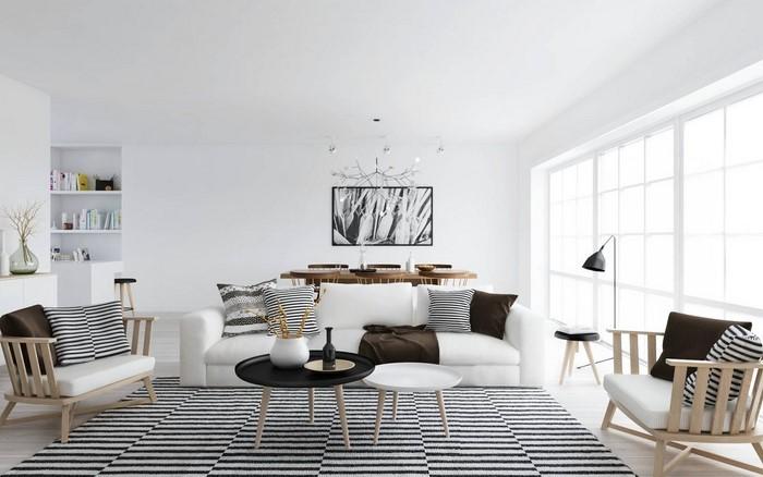 AuBergewohnlich GroB Wohnzimmereinrichtung In Weiß Eine Moderne Dekoration