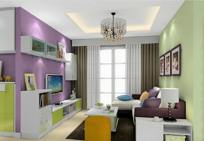 Zimmer-Dekorieren-lila-und-grün