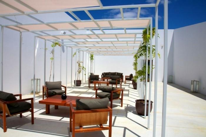 Canvas Dach Pergola Holz Möbel