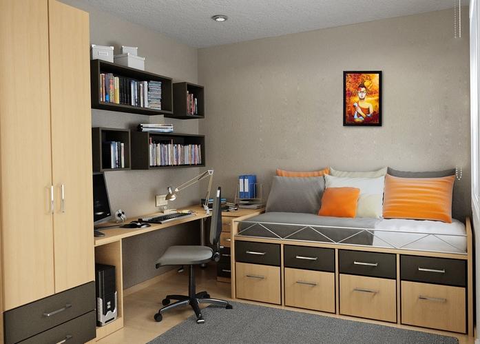 kleine räume einrichten kleines schlafzimmer einrichten sofa mit schubladen schreibtisch wohnungsideen