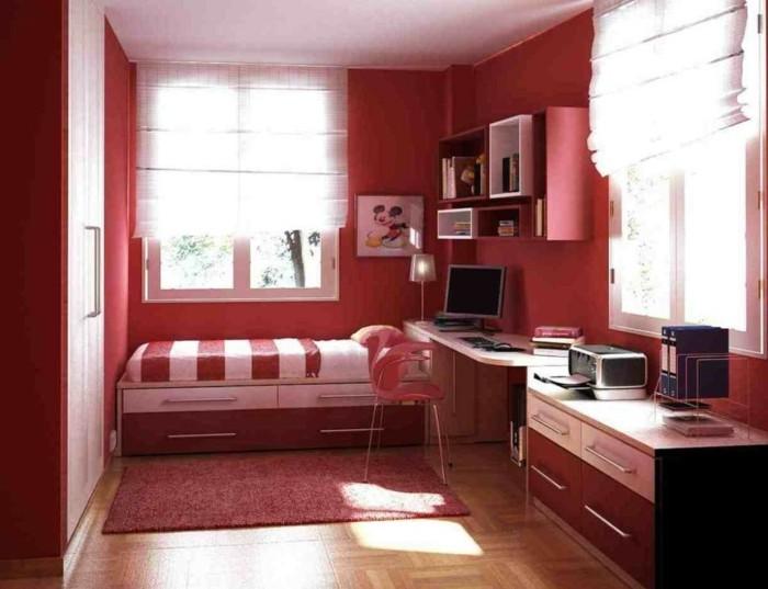 kleines-Zimmer-einrichten-in-roter-Farbe