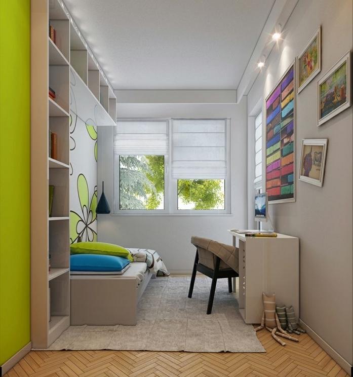 kleines kinderzimmer einrichten hell grass grün weiße wände schreibtisch