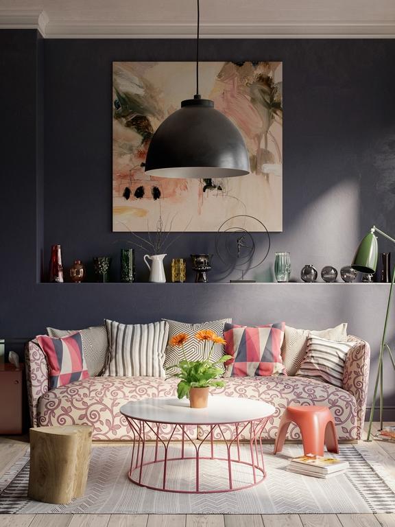 kleines wohnzimmer vorher nachher kleine wohnung einrichten grau und pink gemütlich bilder abstrakt