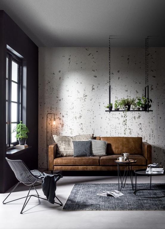 möbel für kleine räume wohnungsideen kleines zimmer einrichten ledersofa betonwände grau