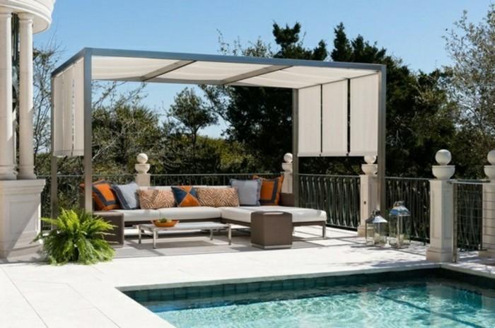 patio-gestaltung-mit-pergola-patio-möbel-am-schwimmbad