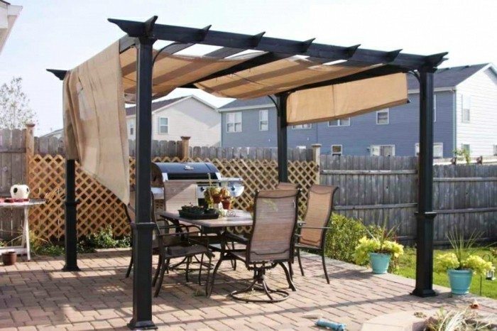 pergola mit sonnensegel eine absolute wohlf hlgarantie. Black Bedroom Furniture Sets. Home Design Ideas