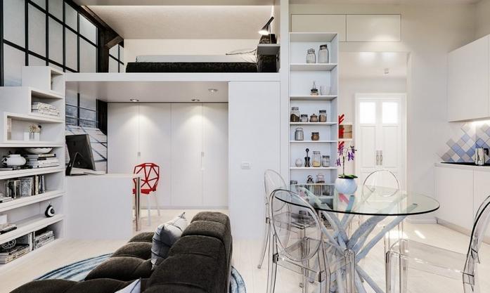 wohnung einrichten 1 zimmer wohnung einrichten 30 qm hochbett esstisch weiß küche
