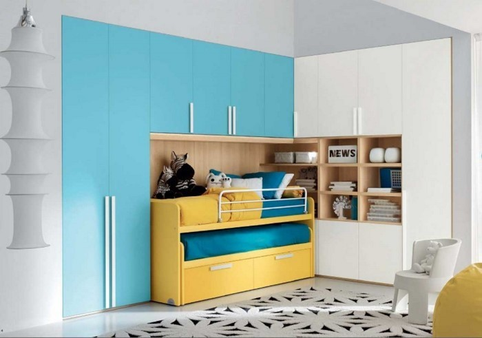 frische farben f rs kinderzimmer 70 wohnideen in blau. Black Bedroom Furniture Sets. Home Design Ideas