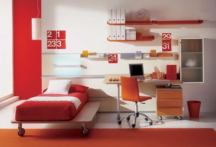 Möbel jugendstil möbel weiß : Rot-weißes Kinderzimmer mit modernem Design