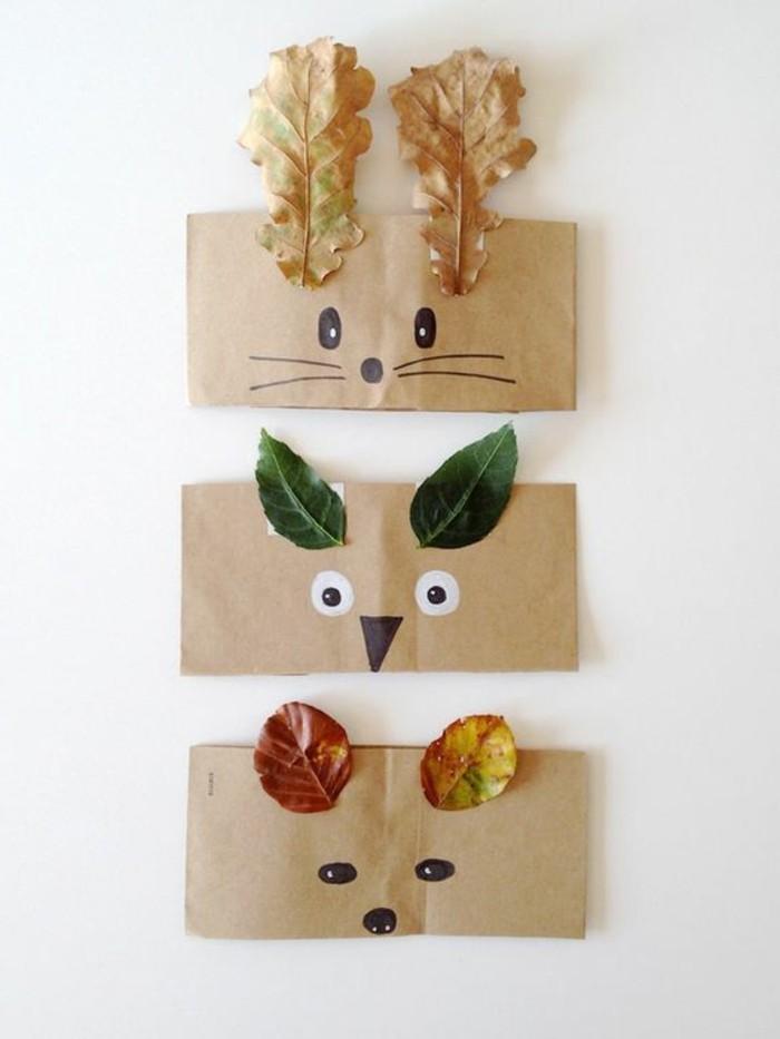 Faschingsmasken-basteln-aus-Papier-und-Blätter