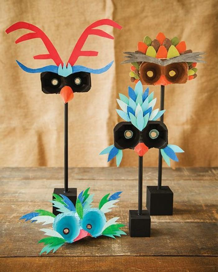 Faschingsmasken-basteln-seltsame-Vögel