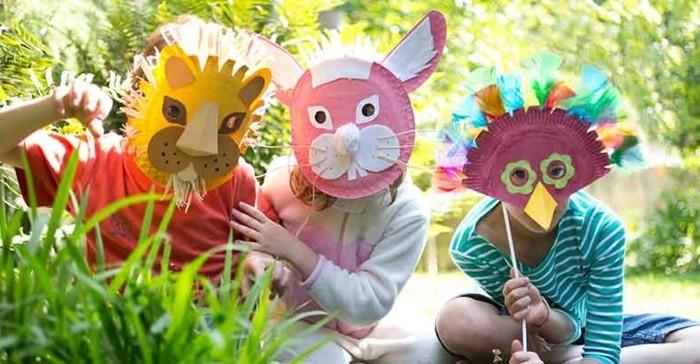 Kindermasken-basteln-Hase-und-Löwe