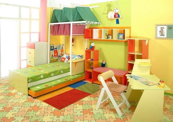 Kinderzimmer-gelb-Eine-moderne-Еinrichtung