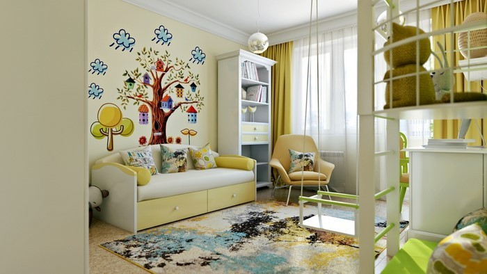 Kinderzimmer-gelb-Eine-verblüffende-Еinrichtung