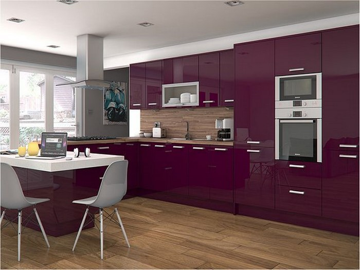 high gloss kitchen design ideas k 252 che in lila einrichten und dekorieren 7046
