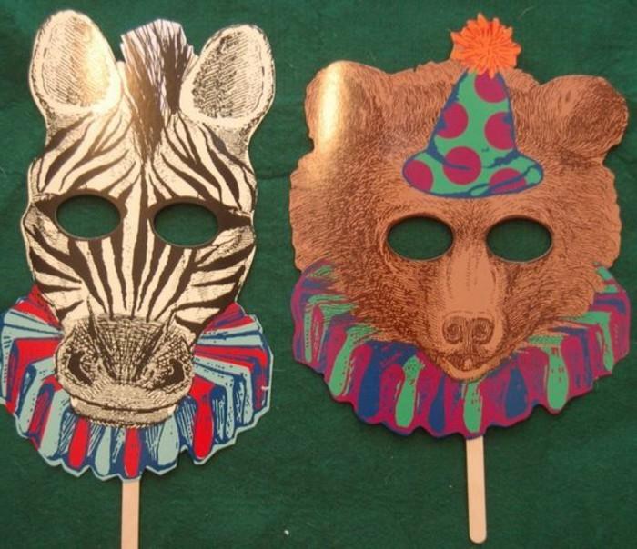 Masken-basteln-mit-Kindern-Zebra-und-Bär