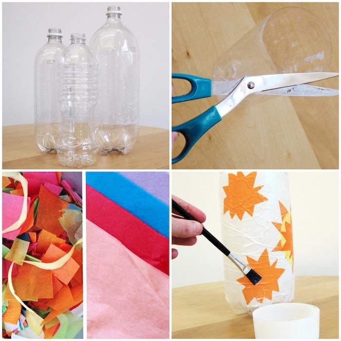 collage diy anleitung schritt für schritt laternen basteln aus plastikflaschen leicht und schnell