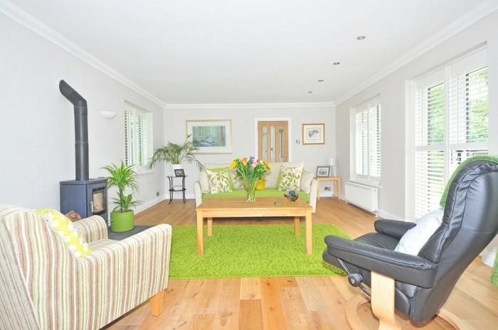 interessantes-modell-teppich-in-grun-modernes-wohnzimmer