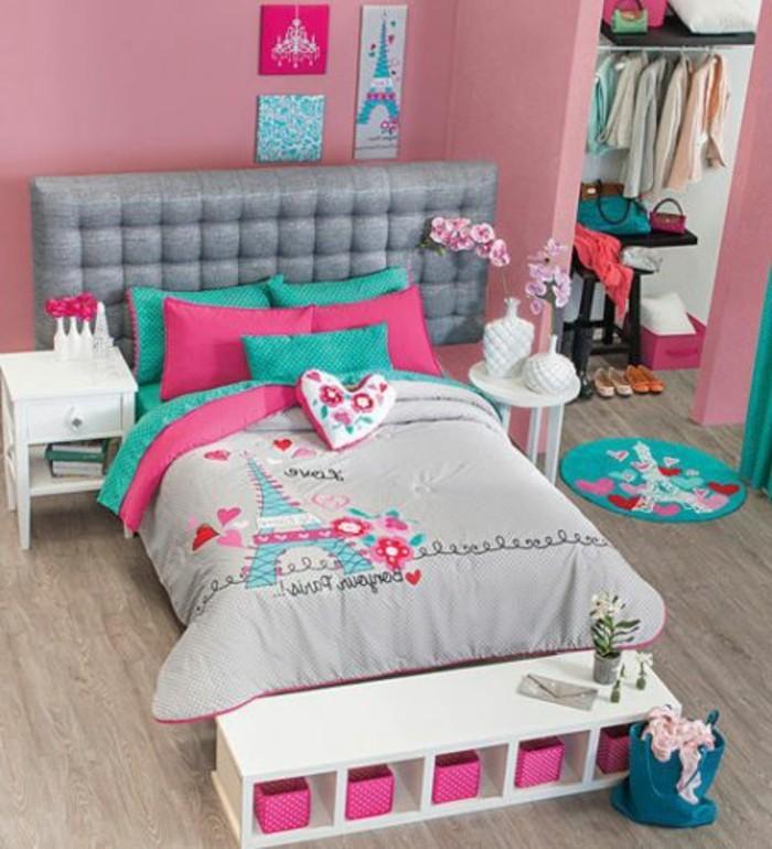 ideen kinderzimmer für mädchen in rosa,grau und grün gestalten