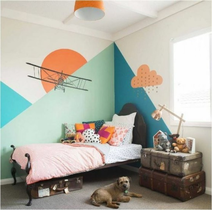 Kinderzimmer Wandgestaltung Tapete : Tolles Kinderzimmer Wandgestaltung mit s??e Tapete