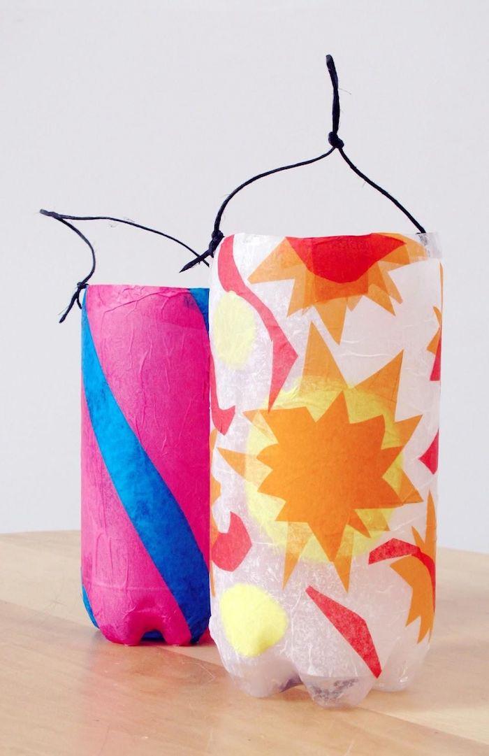 kreative ideen laternen basteln aus plastikflaschen und seidenpapier upcycling ideen