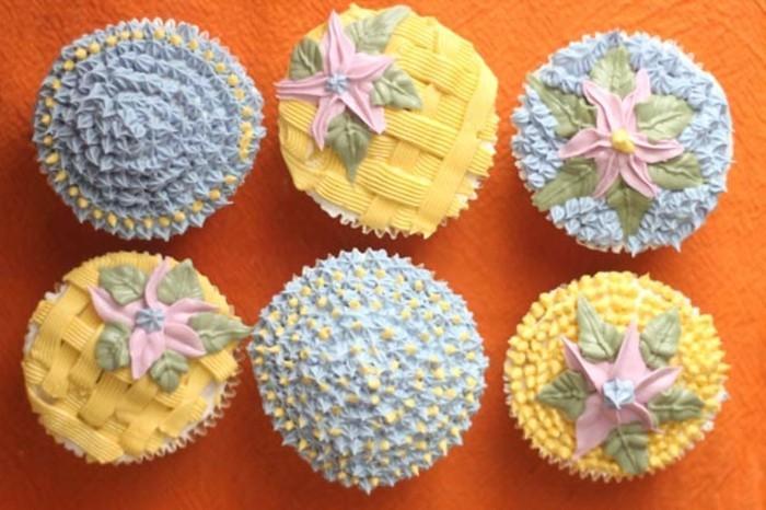 muffins-dekorieren-ideen-blau-und-gelb-muffin-deko
