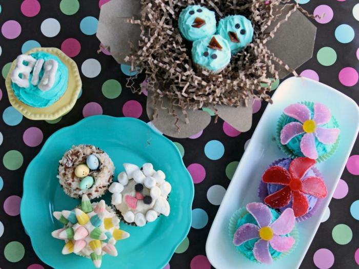 muffins-dekorieren-ideen-bunt-und-lustig-fur-die-kinder